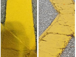 Yellow safety lines before and after