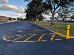 Newly sealed and re-striped parking lot
