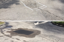 Pothole repair before and after